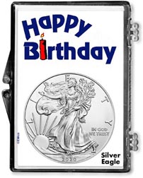 Happy Birthday American Silver Eagle Gift Display THUMBNAIL