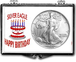 1989 Birthday Cake American Silver Eagle Gift Display THUMBNAIL
