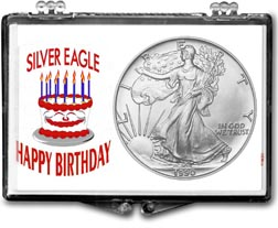 1990 Birthday Cake American Silver Eagle Gift Display THUMBNAIL