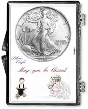 1988 Wedding Couple American Silver Eagle Gift Display THUMBNAIL