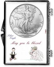 1990 Wedding Couple American Silver Eagle Gift Display THUMBNAIL