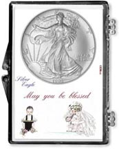 1995 Wedding Couple American Silver Eagle Gift Display THUMBNAIL