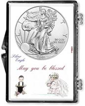 2005 Wedding Couple American Silver Eagle Gift Display THUMBNAIL