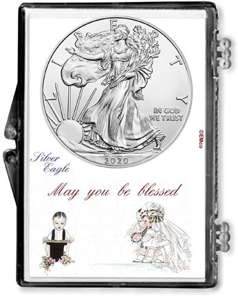 Wedding Couple American Silver Eagle Gift Display LARGE