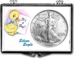 1989 It's A Boy, Duck Motif, American Silver Eagle Gift Display THUMBNAIL