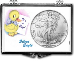 1990 It's A Boy, Duck Motif, American Silver Eagle Gift Display THUMBNAIL