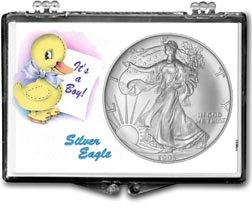 1995 It's A Boy, Duck Motif, American Silver Eagle Gift Display THUMBNAIL