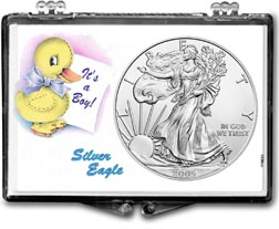 2005 It's A Boy, Duck Motif, American Silver Eagle Gift Display THUMBNAIL