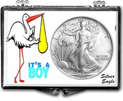 1989 It's A Boy, Stork Motif, American Silver Eagle Gift Display THUMBNAIL