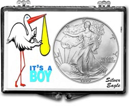 1990 It's A Boy, Stork Motif, American Silver Eagle Gift Display THUMBNAIL