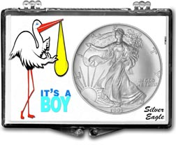 1995 It's A Boy, Stork Motif, American Silver Eagle Gift Display THUMBNAIL