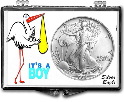 1997 It's A Boy, Stork Motif, American Silver Eagle Gift Display LARGE