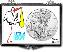 2007 It's A Boy, Stork Motif, American Silver Eagle Gift Display THUMBNAIL