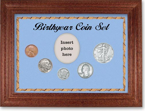 1935 Birth Year Coin Gift Set with a blue background and cherry frame LARGE