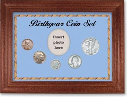 1936 Birth Year Coin Gift Set with a blue background and cherry frame THUMBNAIL