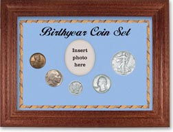 1937 Birth Year Coin Gift Set with a blue background and cherry frame THUMBNAIL