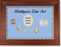 1938 Birth Year Coin Gift Set with a blue background and cherry frame THUMBNAIL