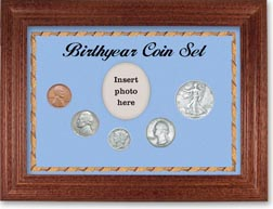 1939 Birth Year Coin Gift Set with a blue background and cherry frame THUMBNAIL