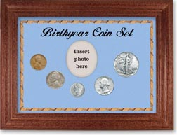 1940 Birth Year Coin Gift Set with a blue background and cherry frame THUMBNAIL