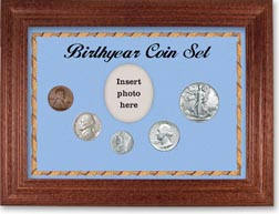 1941 Birth Year Coin Gift Set with a blue background and cherry frame THUMBNAIL