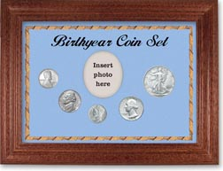 1943 Birth Year Coin Gift Set with a blue background and cherry frame THUMBNAIL