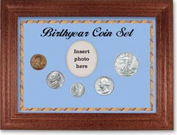 1944 Birth Year Coin Gift Set with a blue background and cherry frame THUMBNAIL