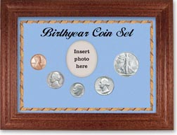 1946 Birth Year Coin Gift Set with a blue background and cherry frame THUMBNAIL