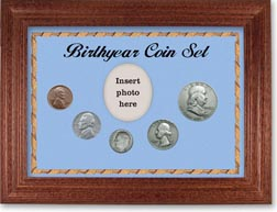 1948 Birth Year Coin Gift Set with a blue background and cherry frame THUMBNAIL