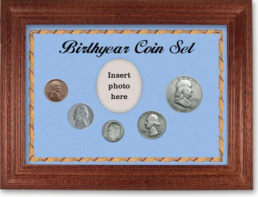 1950 Birth Year Coin Gift Set with a blue background and cherry frame LARGE
