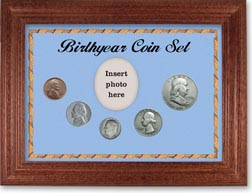 1950 Birth Year Coin Gift Set with a blue background and cherry frame THUMBNAIL