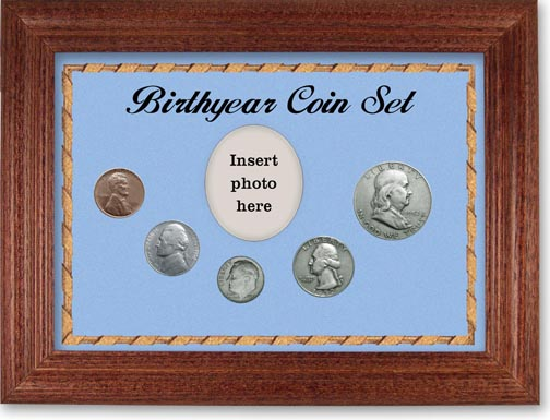 1952 Birth Year Coin Gift Set with a blue background and cherry frame LARGE