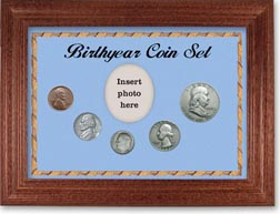 1953 Birth Year Coin Gift Set with a blue background and cherry frame THUMBNAIL