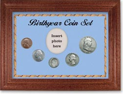 1954 Birth Year Coin Gift Set with a blue background and cherry frame THUMBNAIL