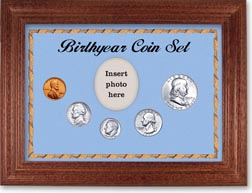 1957 Birth Year Coin Gift Set with a blue background and cherry frame THUMBNAIL