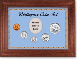 1965 Birth Year Coin Gift Set with a blue background and cherry frame THUMBNAIL