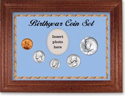 1967 Birth Year Coin Gift Set with a blue background and cherry frame THUMBNAIL