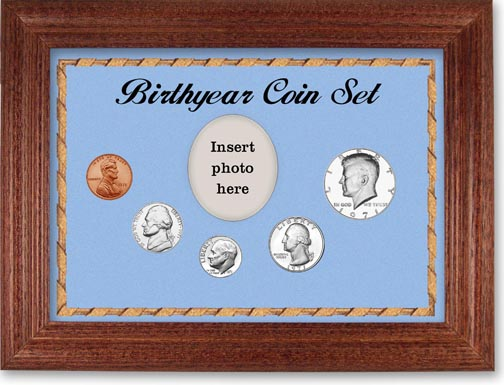 1971 Birth Year Coin Gift Set with a blue background and cherry frame LARGE