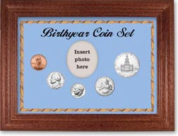 1975 Birth Year Coin Gift Set with a blue background and cherry frame THUMBNAIL
