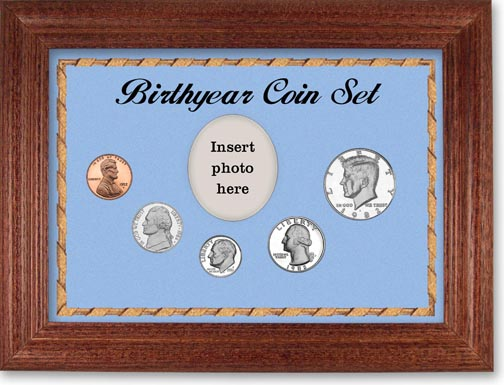 1982 Birth Year Coin Gift Set with a blue background and cherry frame LARGE