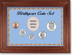 1982 Birth Year Coin Gift Set with a blue background and cherry frame THUMBNAIL