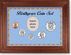 1983 Birth Year Coin Gift Set with a blue background and cherry frame THUMBNAIL