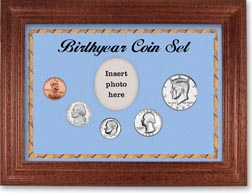 1985 Birth Year Coin Gift Set with a blue background and cherry frame THUMBNAIL