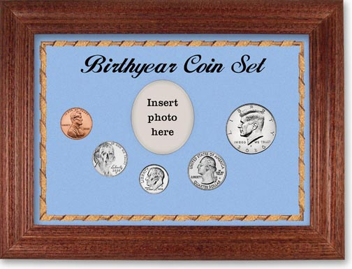 Birth Year Coin Gift Set with blue background and cherry frame LARGE