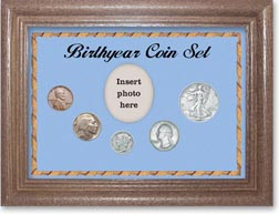 1936 Birth Year Coin Gift Set with a blue background and dark oak frame THUMBNAIL