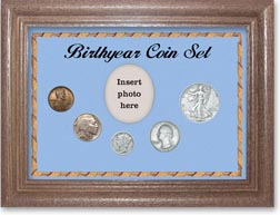 1937 Birth Year Coin Gift Set with a blue background and dark oak frame THUMBNAIL