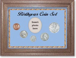 1938 Birth Year Coin Gift Set with a blue background and dark oak frame THUMBNAIL