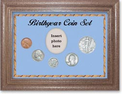 1939 Birth Year Coin Gift Set with a blue background and dark oak frame THUMBNAIL