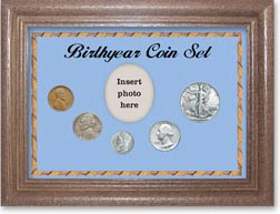 1940 Birth Year Coin Gift Set with a blue background and dark oak frame THUMBNAIL