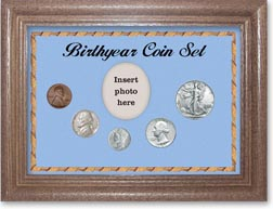 1941 Birth Year Coin Gift Set with a blue background and dark oak frame THUMBNAIL