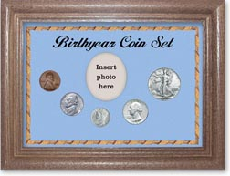 1942 Birth Year Coin Gift Set with a blue background and dark oak frame THUMBNAIL